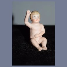 Antique All Bisque Baby Doll Piano Baby Miniature Dollhouse