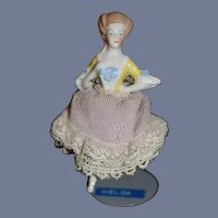 Old Fancy Half Doll W/ Legs Fancy Hair China Head