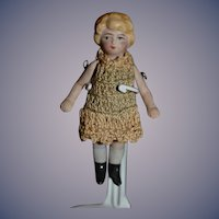 Antique All Bisque Jointed Doll Crochet Outfit Miniature Dollhouse