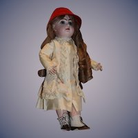 Antique Doll  Closed Mouth French Bisque TeTe Jumeau W/ French Wig Dressed Charmer!!