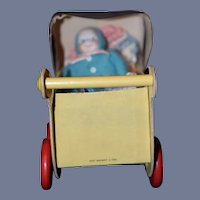 Old Fanny Farmer Candy Box Carriage Pram W/ Bisque Doll Miniature Dollhouse