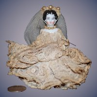 Antique Doll Frozen Charlotte as Bride China Head