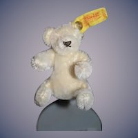 "Vintage Miniature Doll Toy Steiff Bear 0203/11 3"" Tall Mohair Sweet White Bear"