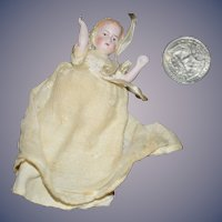 Old Doll All Bisque Miniature Dollhouse Hertwig W/ Gown Jointed