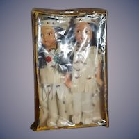 Old Indian Doll Set Two Dolls Painted Bisque in Original Box