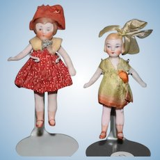 Old Doll Set Two All Bisque Dolls Flapper Style Jointed Miniature Dollhouse