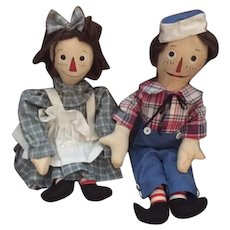 Wonderful Vintage Artist Doll Set Raggedy Ann & Andy Lynne O'neill Painted Features Button Eyes