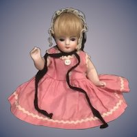 Antique Doll All Bisque Miniature Glass Eyes Knee socks Jointed Dollhouse
