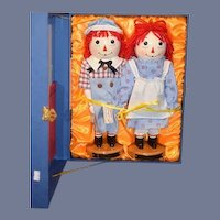 Classic Raggedy Ann & Andy Doll Dolls Sterling & Camille Wood Carved Nutcracker Dolls MINT IN BOX