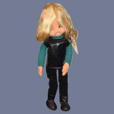 "Vintage Doll Cloth Felt Doll Unusual 17 1/2"" Tall 60's Funky Clothing"