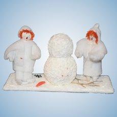 Vintage Artist Raggedy Ann & Andy Building a Snowman Miniature Unusual