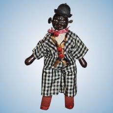 Antique Doll Schoenhut Wood Carved Humpty Dumpty  Circus Black Man Minstrel