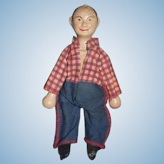 Antique Doll Wood Carved Schoenhut Farmer Humpty Dumpty Circus