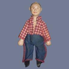 Vintage Doll Wood Carved Delavan Delvan Schoenhut Cowboy Clown 1950-52