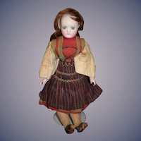 Antique Doll German Closed Mouth Bisque W/ Original Clothing Pierced Ears Glass Eyes