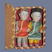 Antique Doll Set Miniature TWO DOLLS In Original All Bisque Oriental