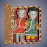 Antique Doll Set Miniature TWO DOLLS In Original All Bisque Oriental