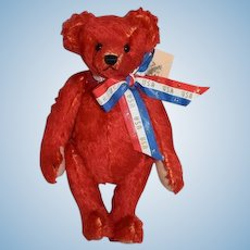 Artist Teddy Bear Red Mohair Shirley Meyer Liberty II Limited Edition 6/25 Mohair Jointed CUTE! The Bear Facts