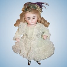 Wonderful French Wig Dress and Fancy Hat For Wrestler Kestner Petite Doll