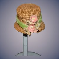 Vintage Sweet Doll Straw Hat Bonnet W/ Flowers Petite Doll