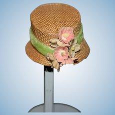 Vintage Sweet Doll Straw Hat Bonnet W/ Flowers Petite Doll