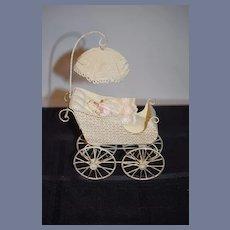 Vintage Doll Tin Pram and Artist Miniature Baby Doll Dollhouse Adorable