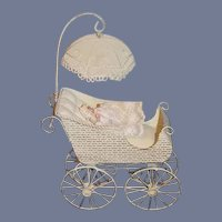 Vintage Doll Tin Pram and Artist Miniature Baby Doll Dollhouse Adorable