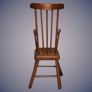Old Wood Doll Chair Spindle Back High Back Perfect for Fashion Doll Cloth Any
