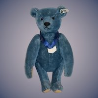 Vintage Steiff Teddy Bear Blue Club Bear 420047 Jointed Mohair