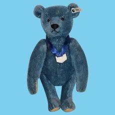 Vintage Steiff Teddy Bear Blue Club Bear 420047 Jointed Mohair