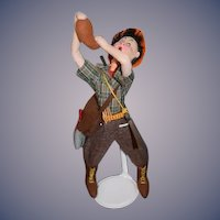 Vintage Doll Cloth Doll Klumpe Hunter W/ Rifle Canteen Bird and Side Satchel