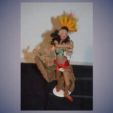 Vintage Doll Cloth Doll Klumpe w/ Tag Brazil or Spanish Dancer