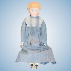 Antique Doll Parian Bisque China Head Blonde W/ Bangs