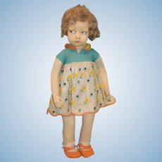 """Antique Doll Lenci Model 109 Cloth 22"""" Tall Side Glancing Eyes Character"""