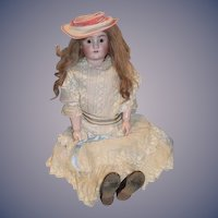 "Antique Doll Big Bisque 33"" Henrich Handwerck Halbig Gorgeous Girl Dressed Antique Dress"