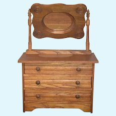 Old Wood  Doll Dresser W/  Swing Mirror Doll Size Miniature Large Scale