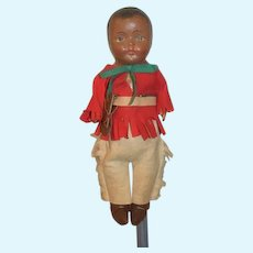 Antique Doll Composition Black Indian Doll in Costume