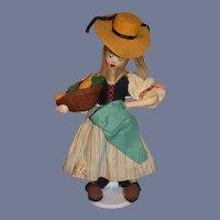 Old Klumpe Cloth Doll Lady with Fruit W/ Original Tag