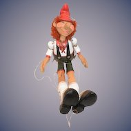 """Wood Pinocchio Jointed Doll 20"""" Tall"""