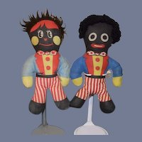 Vintage Golliwog Cloth Black Doll SET Girl and Boy Unusual