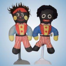 Vintage Golliwog Cloth Black Doll SET Girl and Boy Unusual
