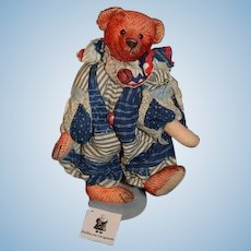 """Artist Teddy Bear DeHaven Originals """"Clancy"""" #2 out of 4 Patchworks Circus People Series Red Mohair"""