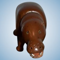 Antique Doll Schoenhut Hippopotamus Wood Carved Jointed Glass Eyes