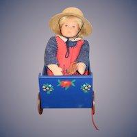 Vintage Doll Kathe Kruse Stoffpuppen Doll W/ Kathe Kruse Wood Painted Wagon UFDC