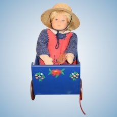 Vintage Doll Kathe Kruse Stoffpuppen Doll W/ Kathe Kruse Wood Painted Wagon UFDC