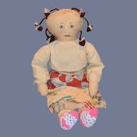 "Vintage Doll Large Cloth Doll Painted Features W/ Quilt Patch Skirt 32"" Tall"