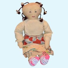 """Vintage Doll Large Cloth Doll Painted Features W/ Quilt Patch Skirt 32"""" Tall"""