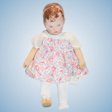 Antique Doll Kathe Kruse Cloth Doll Wonderful Oil Cloth Doll