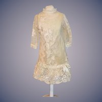 GORGEOUS Antique Lace Doll Dress STUNNING French Doll Market