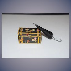 Old Doll Miniature Doll Trunk Marx W/ Faux Parasol Dollhouse